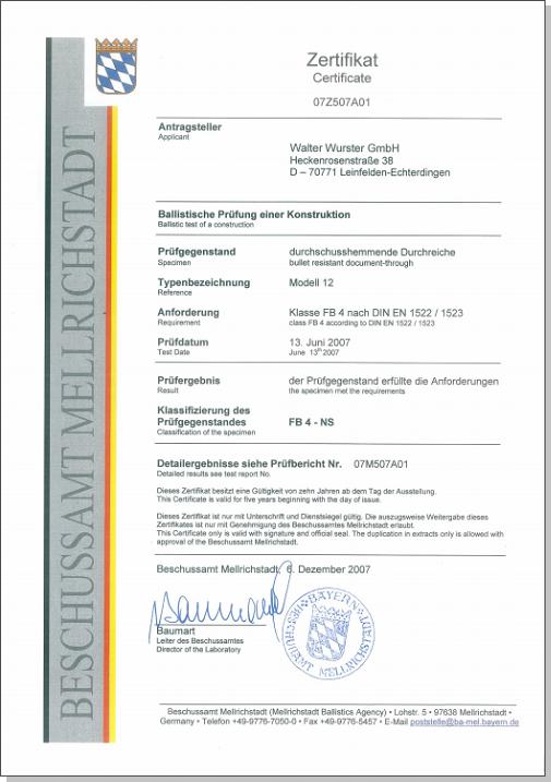 Certificat passe-billets modèle 12-FB4