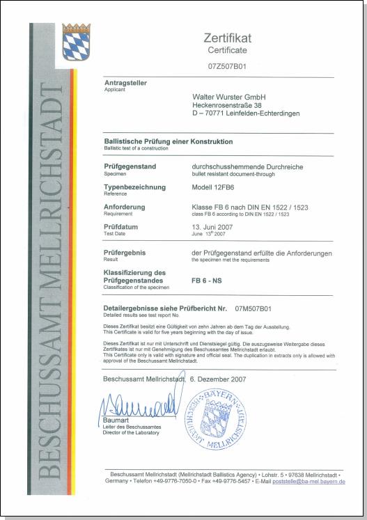 Certificat FB6 - WURSTER passe-billets 12-FB6