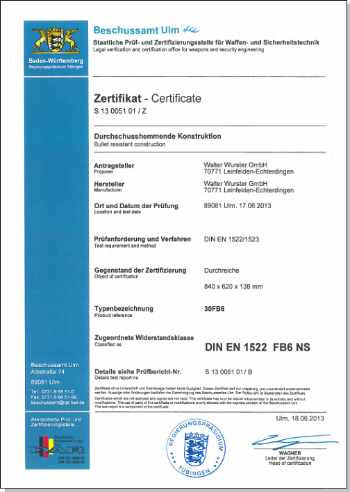 Certificat anti-balles passe-document 30-FB6