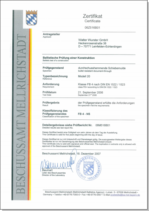 Certificat pare-balles FB4 - Passe-documents WURSTER 20-FB4