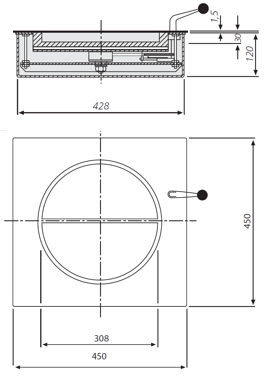 Dimensions passe-document rotatif  501